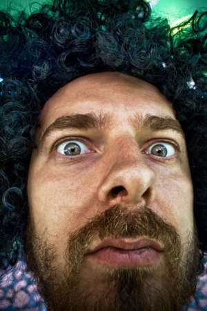 funny bearded man: Close-up portrait of funny man Stock Photo