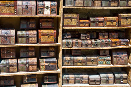 Numerous wooden chests in various colors photo