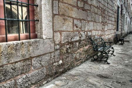 topkapi: Ancient stonewall at Topkapi Palace, Istanbul, Turkey Stock Photo