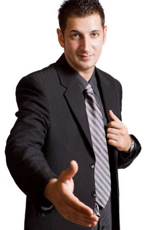 Seal the deal concept: businessman offering his open hand photo
