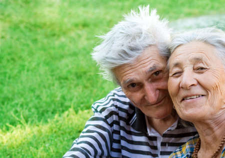 Portrait of two happy seniors still in love Stock Photo - 3899938