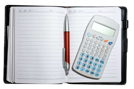 Blank notebook with pen and calculator isolated on white photo