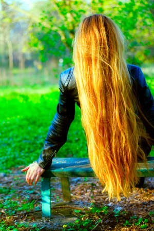 long silky hair: Back of woman with beautiful blond hair on bench park Stock Photo