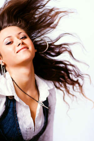 Active young woman with moving hair Stock Photo - 4204991