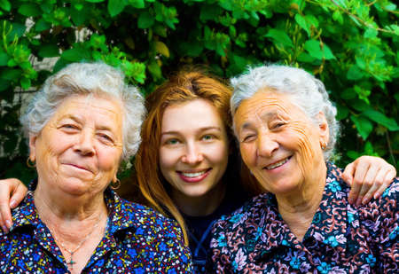 mature old generation: Happy family - young woman and two senior ladies
