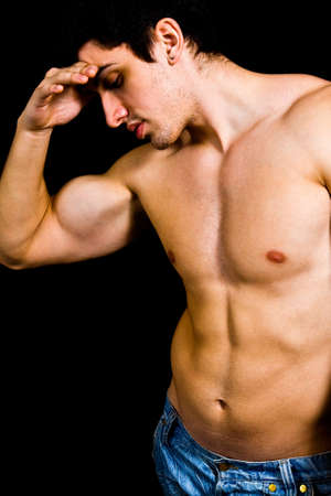 pectorals: Fine art portrait of muscular sexy bodybuilder