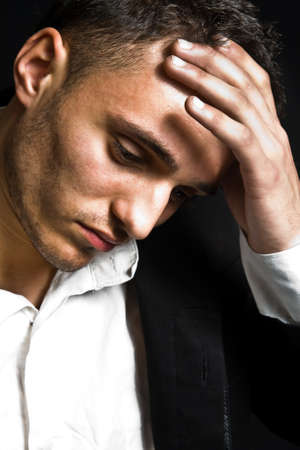 disappoint: Closeup portrait of sad depressed young man Stock Photo