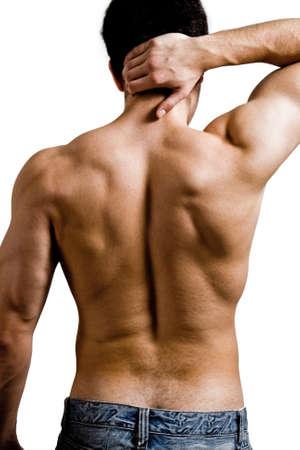 hombres sin camisa: Muscular hombre con dolor de espalda cuello aisladas en blanco