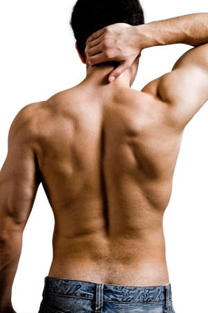 aching muscles: Muscular man with back neck ache isolated on white Stock Photo