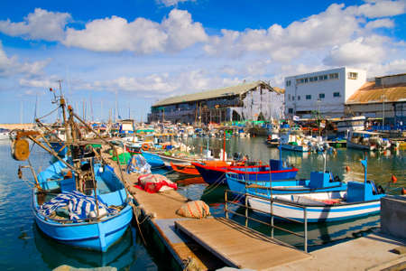 tel: Lots of boats in picturesque port of Tel Aviv, Israel