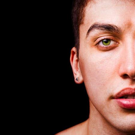 Closeup portrait - half face of handsome man