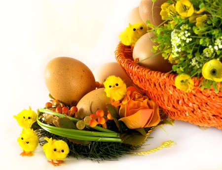 Easter concept: eggs, basket, flowers and chickens on white photo