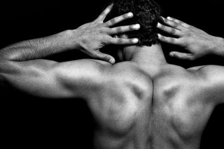 poses de modelos: Volver muscular atl�tico m�s joven negro Foto de archivo