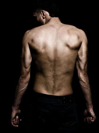 desnudo masculino: Grunge imagen art�stica del hombre con muscular magra de vuelta Foto de archivo