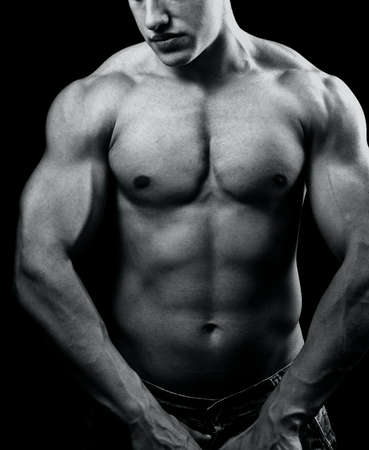 pectorals: Big muscular man with powerful body