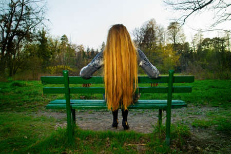 Back of blond hair female sitting on park bench photo