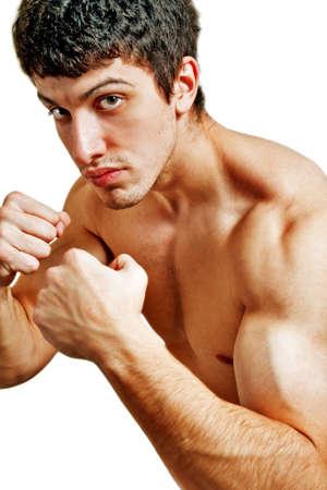 pugilist: Male tough boxer ready for a fight