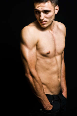 bare chest: One shirtless cool masculine man