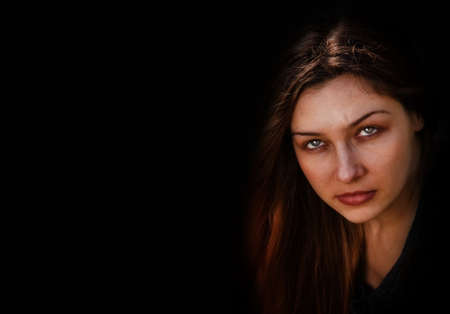 Face of evil dark spooky one woman Stock Photo - 5581085