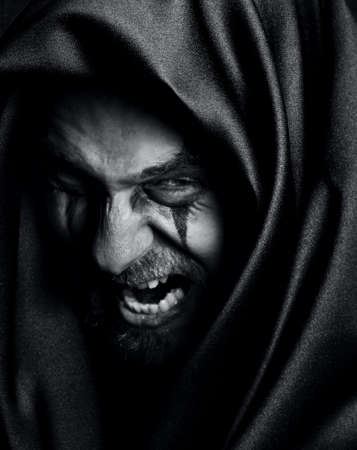 Rage of angry evil spooky man photo
