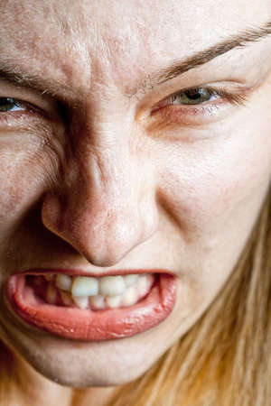 Closeup on angry stressed woman photo