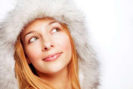 mujer pensativa: Retrato de Navidad de una mujer pensativa feliz Foto de archivo