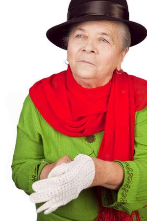 gant blanc: Dame de vieux senior �l�gant mettant gant blanc