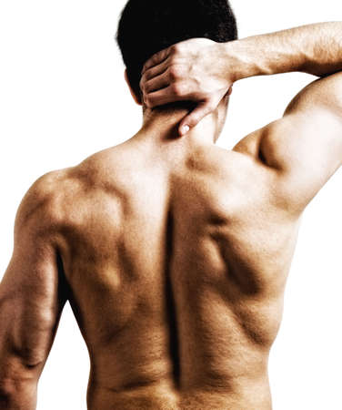 aching muscles: Man with back or nape pain