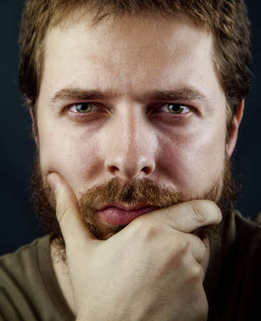 middle aged men: Face of one intelligent bearded man Stock Photo