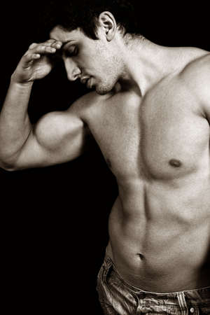 weary: Portrait of tired sad weary male bodybuilder Stock Photo