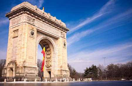 bucharest: Triumph Arch - landmark in Bucharest, romanian capital Stock Photo