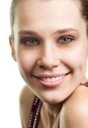 Face of happy woman with beautiful smile over white Stock Photo - 6604501