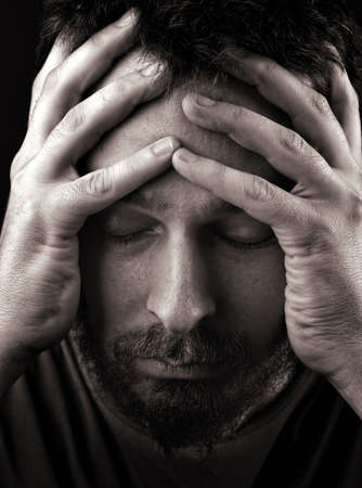 Closeup portrait of sad depressed and lonely man Stock Photo