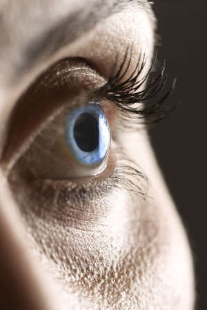 Macro on blue eye with long eyelashes