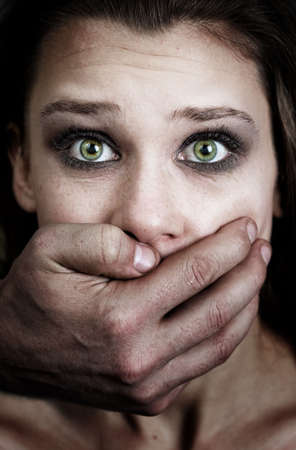 scared man: Fear of woman victim of domestic violence and abuse