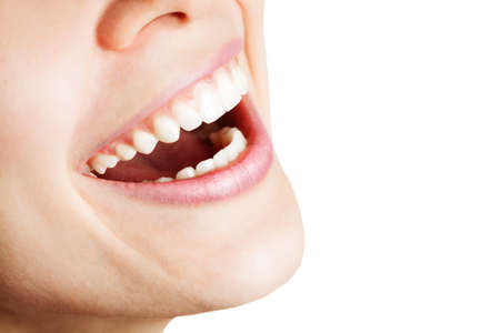 toothy: Laugh of happy woman with healthy white teeth Stock Photo