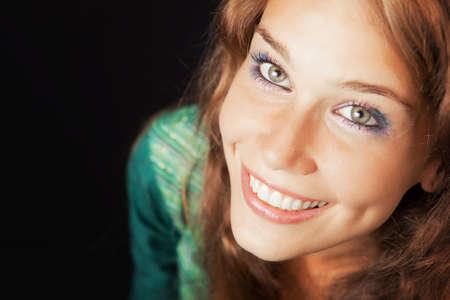 Portrait of happy joyful young friendly woman