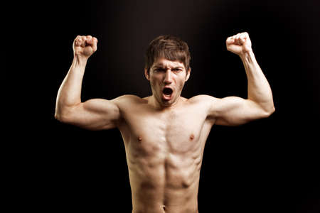 Scream of angry muscular brave strong guy Stock Photo - 7018438