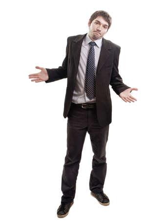 Homme d'affaires Broke demandent des solutions ou des conseils