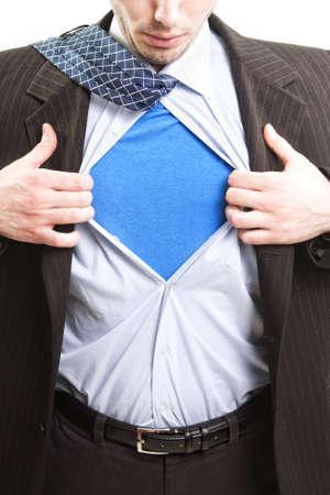 open shirt: Superman business concept - super hero business man