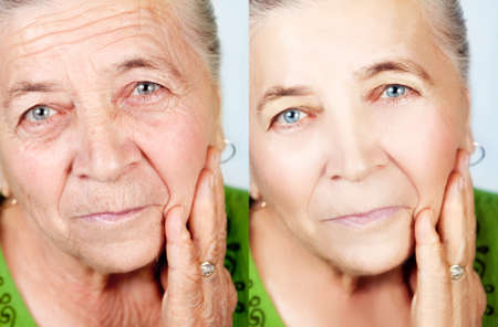 Beauty and skincare concept - senior woman without aging wrinkles Stock Photo