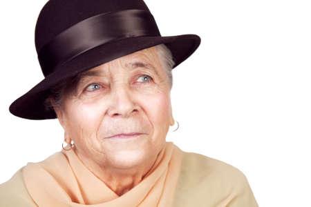 Elegant old senior woman with hat over white photo