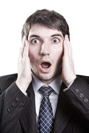 gestos de la cara: Hombre de negocios aislado con expresi�n de sorpresa en su cara