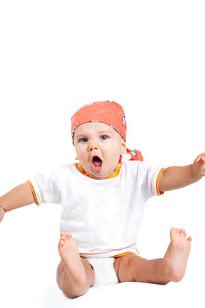 Scream of angry funny baby boy isolated on white Stock Photo