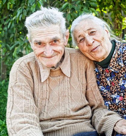 Happy and joyful old senior couple outdoor photo