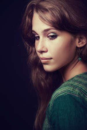 Artistic portrait of sensual beautiful young woman