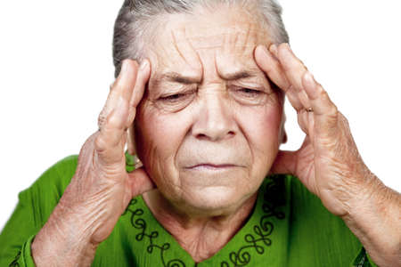 Old senior woman having migraine or big headache