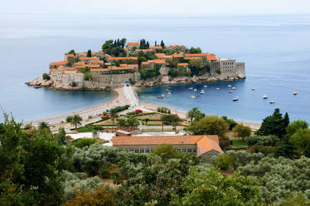 sveti: Island of Sveti Stefan in Montenegro and blue Adriatic Sea Editorial