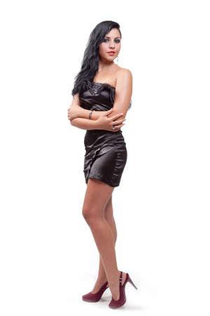 Elegant beautiful woman isolated on white background photo