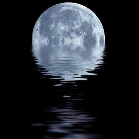 over the moon: Fantasy wallpaper of blue moon over water